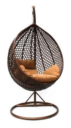 Подвесное кресло  KM-0001 (темный) Темный иск, ротанг/Коричневая подушка, Средняя корзина