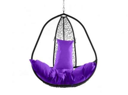 Подвесное кресло  Корфу черное XXL Фиолетовая подушка, Без стойки