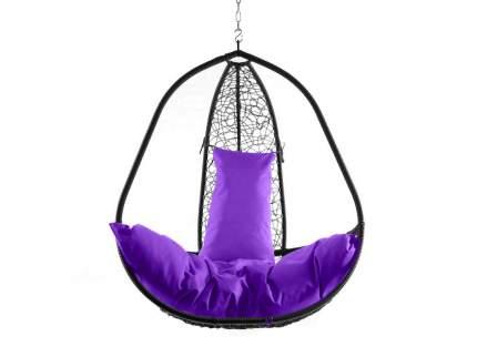 Подвесное кресло  Корфу черное XXL Фиолетовая подушка, Со стойкой