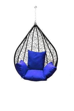 Подвесное кресло  Алания черное XXL с синей подушкой Без стойки, Черный