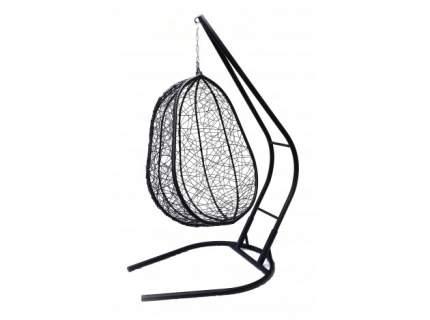Подвесное кресло  Капри XXL черное с бежевой подушкой Без стойки, Черный