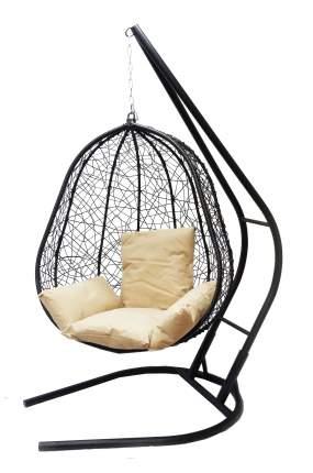 Подвесное кресло  Капри XXL черное с бежевой подушкой Со стойкой, Черный
