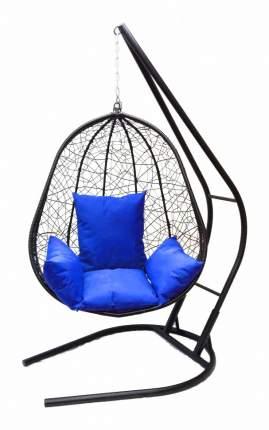 Подвесное кресло  Капри XXL черное с синей подушкой Со стойкой, Черный