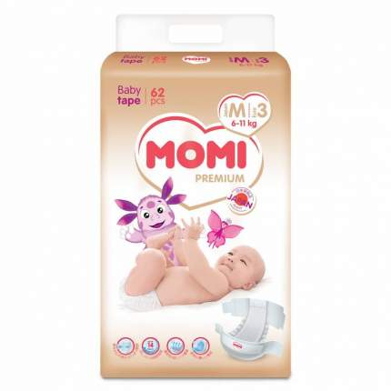 Подгузники MOMI Premium 3/M (6-11 кг), 62 шт.