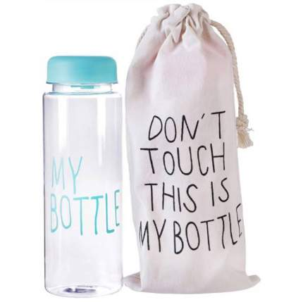 Бутылка для напитков Baziator My bottle (май ботл) с мешочком 500 мл голубая