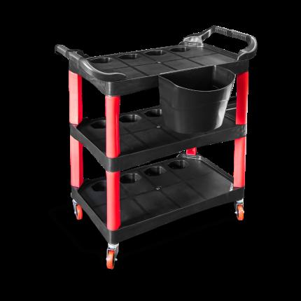 Пластиковый стол на колесиках с боковым ведром. Место полировщика AuTech Au-L009