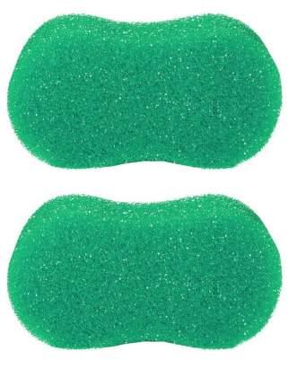Губка банная пористая Радиус Восьмерка зеленая 2 шт