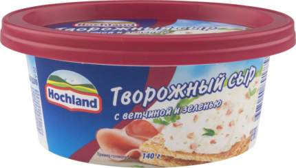 Сыр творожный Hochland с ветчиной и зеленью, 140 г