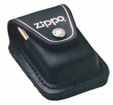 Чехол ZIPPO черный кожаный с клипом LPCBK