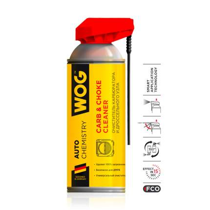 Очиститель карбюратора и дроссельной заслонки WOG WGC0340 с распылителем 2 в 1 , 520 мл