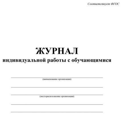 Журнал индивидуальной работы с обучающимися