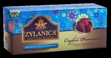 Чай Zylanica Ceylon Premium черный байховый с клубникой 25 пакетиков
