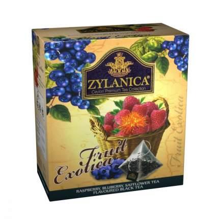 Чай Zylanica Fruit Exotica черный с малиной черникой лепестками сафлора 20 пирамидок