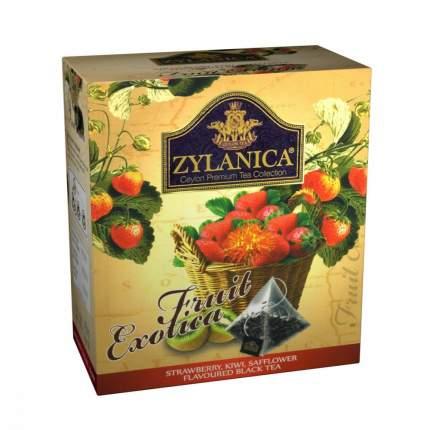 Чай Zylanica Fruit Exotica черный с клубникой киви лепестками сафлора 20 пирамидок