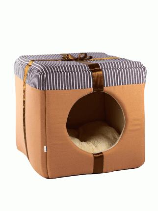 Домик для кошек и собак Не Один Дома Лучший подарок, светло-коричневый, L, 40х40х40 см