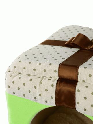 Домик для кошек и собак Не Один Дома Лучший подарок, светло-зеленый, L, 45х45х45 см