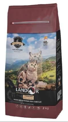 Сухой корм для кошек Landor Sterilized для стерилизованных с лишним весом, кролик рис, 2кг