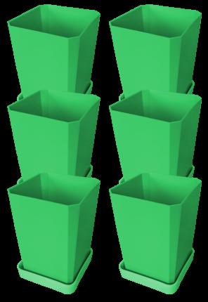 Набор горшков для рассады, 750 мл, 6 штук, цвет зеленый