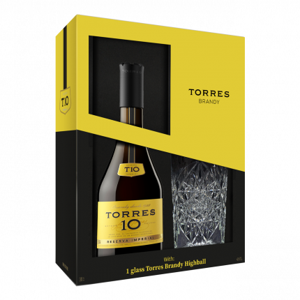 Бренди Torres 10 Gran Reserva, gift box with glass