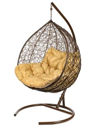 Подвесное кресло Bigarden Gemini коричневое со стойкой коричневая подушка