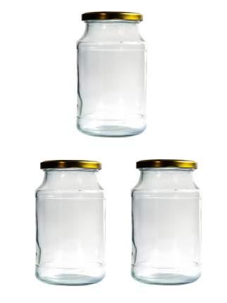 Российское стекло Банка стеклянная 960 мл с закруч. метал. крышкой набор из 3 шт