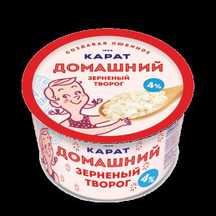 Творог карат домашний зерненый бзмж жир. 4 % 200 г пл/ст карат россия