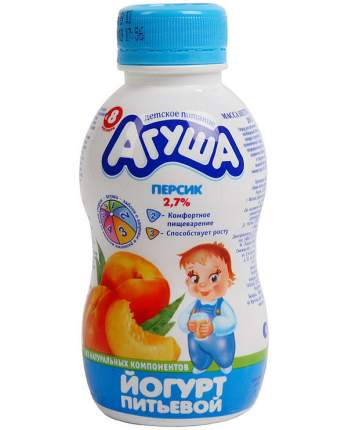 Йогурт Агуша питьевой детский персик 2.7% 200 г