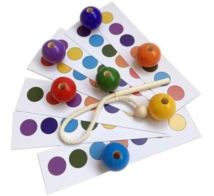 Развивающая игрушка Эврилэнд Шнуровка с карточками 7 цветов