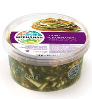 Салат Меридиан из морской капусты с кальмаром и растительным маслом 450 г
