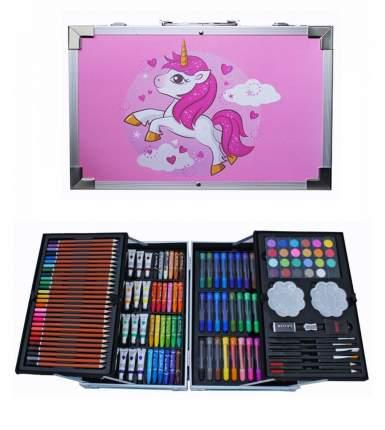 Набор Юного художника для детского творчества из 145 предметов в кейсе розовый