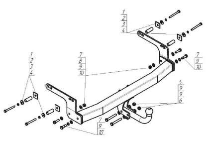 Фаркоп motodor motodor.91711-a для renault kaptur 2016- внедорожник без электрики