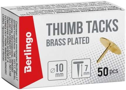Кнопки канцелярские/гвоздики омедненные 10мм 50шт карт. упаковка