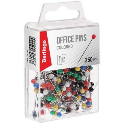 Булавки офисные 28 мм, 250 шт, пластик. коробка, европодвес