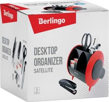 """Настольный органайзер Berlingo """"Satellite"""", 9 предметов, черно-красный"""