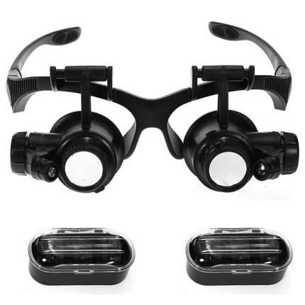 Лупа-очки Kromatech налобная 10/15/20/25x с подсветкой 2 LED MG9892G/GJ