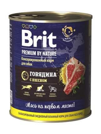 Влажный корм для собак Brit Premium by Nature , говядина и пшено, 850г