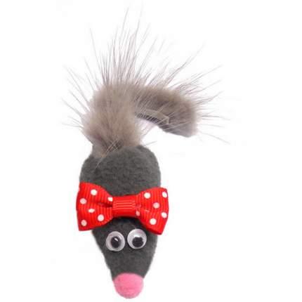 Мягкая игрушка для кошек Petto Мышь с норковым хвостом МИККИ, текстиль, серый