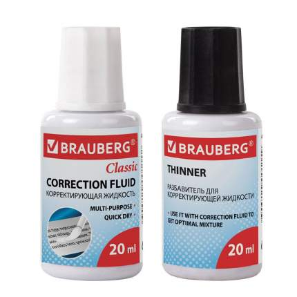 Корректирующий набор BRAUBERG : штрих и разбавитель, 20+20 мл