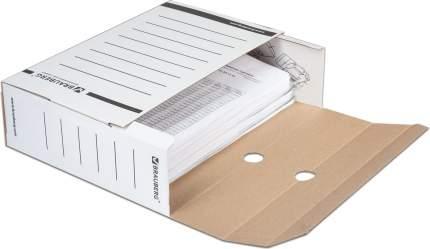 Короб архивный с клапаном BRAUBERG микрогофрокартон, 100 мм, до 900 листов, плотный, белый