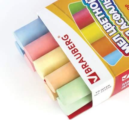 Мел цветной BRAUBERG, набор 10 шт., круглый, для рисования на асфальте