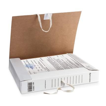 Папка архивная с завязками BRAUBERG микрогофрокартон, 45 мм, до 400 листов, плотная, белая
