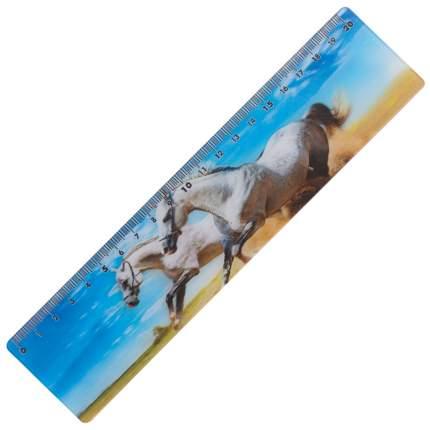 """Линейка 3D, 20 см, BRAUBERG, объемная, """"Белые кони"""", европодвес"""