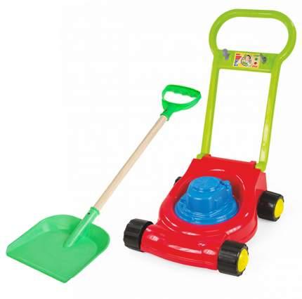 Игровой набор: Детская газонокосилка+ лопатка пластмассовая с деревянной ручкой 65 см.