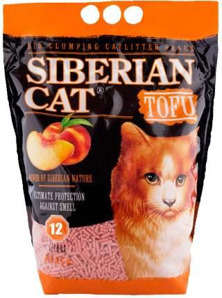 Комкующийся наполнитель для кошек Сибирская кошка Тофу соевый, персик, 6 кг, 12 л,