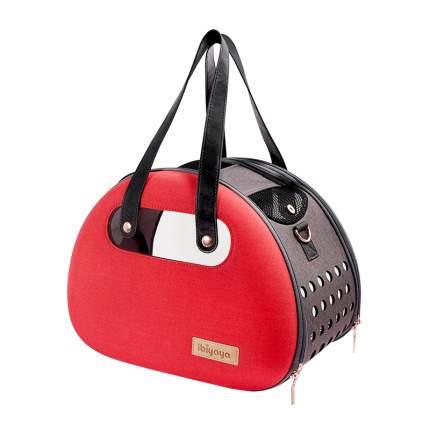 Сумка-переноска для кошки, собаки IBIYAYA, до 6 кг прозрачная/красная, 28x38x29см