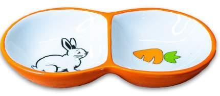 Двойная миска для грызунов КерамикАрт, керамика, оранжевый, 2х50мл