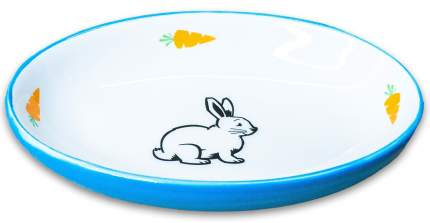 Одинарная миска для грызунов КерамикАрт Зайчик, керамика, голубой, 0.09 л