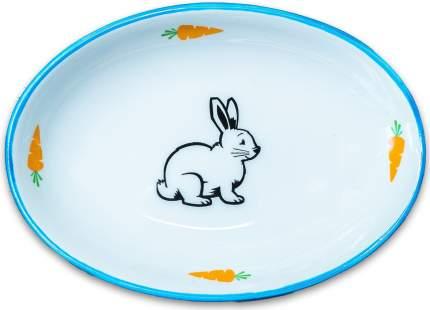 Одинарная миска для грызуны КерамикАрт Зайчик, керамика, голубой, 0.09 л