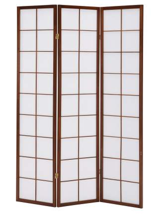 Ширма для комнаты ДваДома в Японском стиле, цвет орех, 3 секционная, 178х129 см