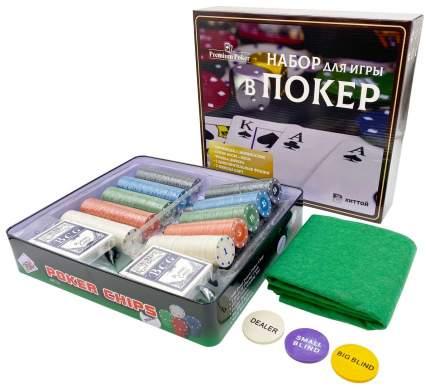 Покерный набор Holdem Light, 500 фишек, с номиналом, в жестяной коробке, карты, сукно